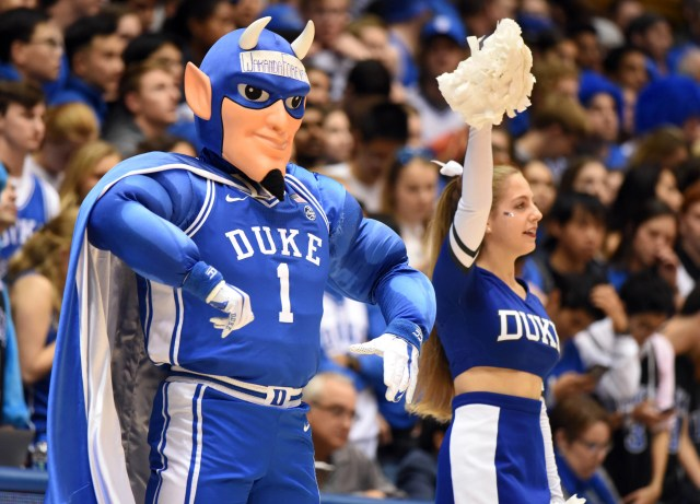 Nov. 15: The Duke Blue Devils mascot performs during the first half against the Georgia State Panthers at Cameron Indoor Stadium.