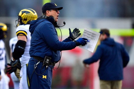 Latest Sports News: Nov 23, 2019; Bloomington, IN, USA;Michigan Wolverines head coach Jim Harbaugh yells at his team during the first half of the game against the Indiana Hoosiers at Memorial Stadium . Mandatory Credit: Marc Lebryk-USA TODAY Sports
