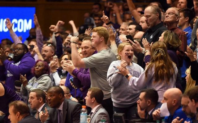Nov. 26: Stephen F. Austin fans react during the second half against Duke at Cameron Indoor Stadium. The Lumberjacks shocked the No. 1 Blue Devils 85-83 in overtime.