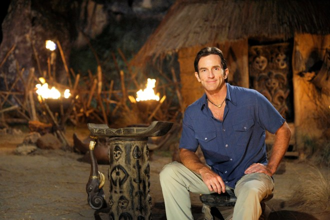 Jeff Probst, host of SURVIVOR: GABON - EARTH'S LAST EDEN, is pictured on the new tribal council set for the seventeenth installment of the Emmy Award-winning reality series.