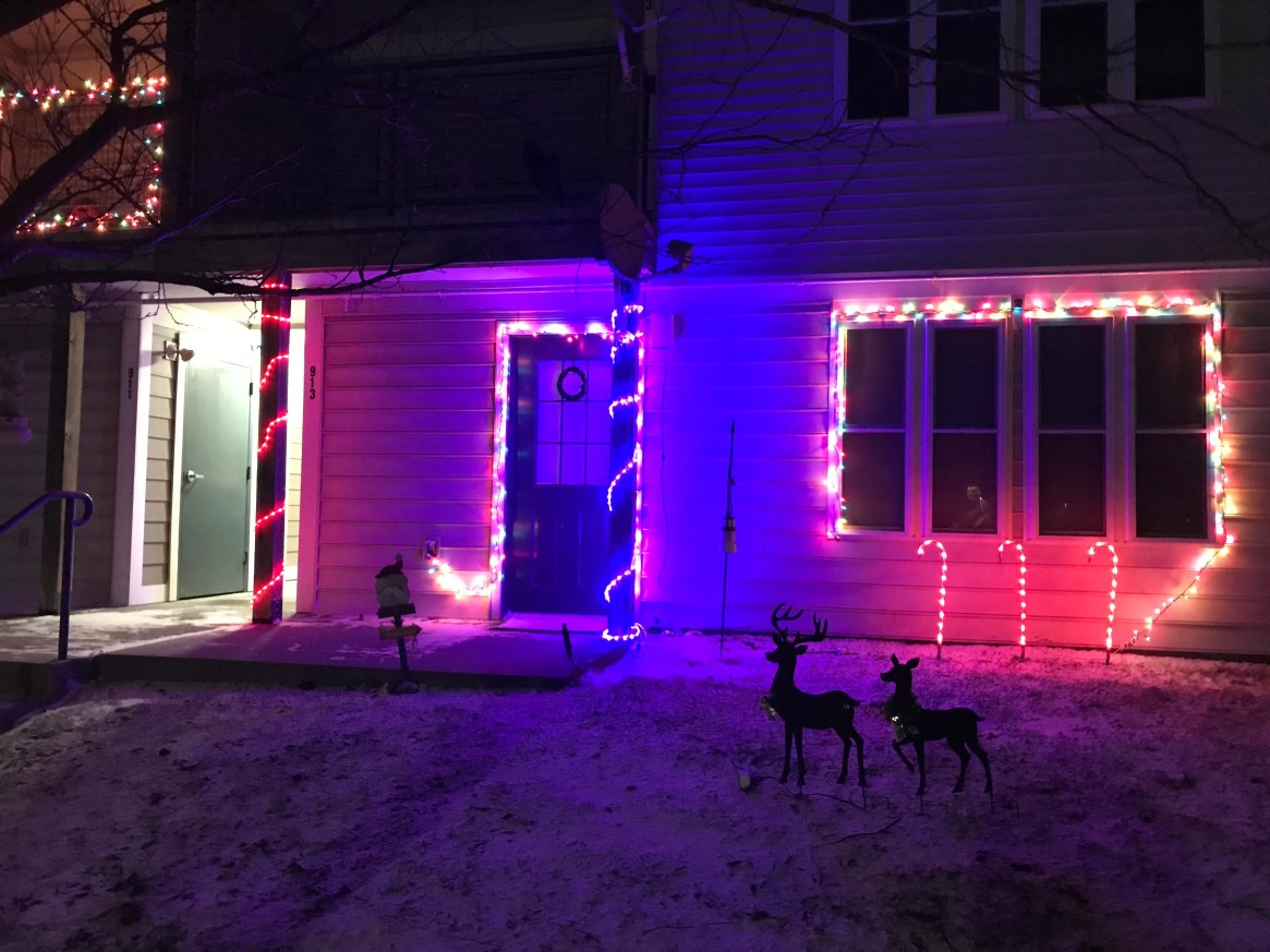 Homes in Williston getting into the Christmas spirit. December 2019.