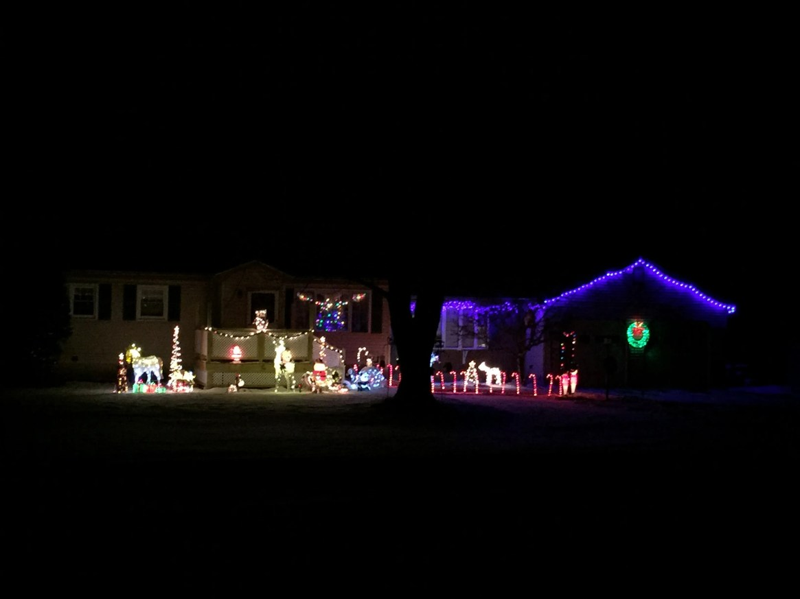 Christmas lights adorn a home on Vermont 116 in St. George.