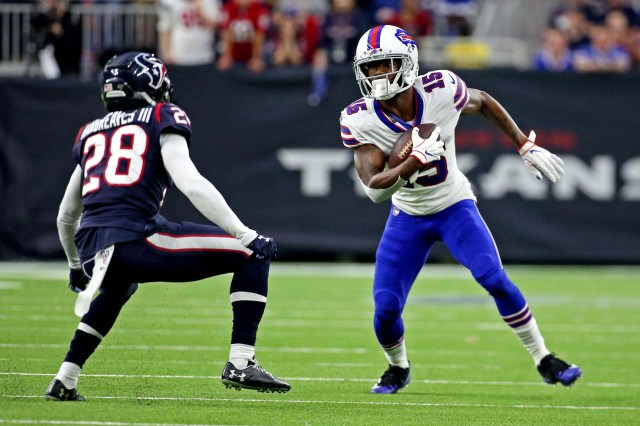 Buffalo Bills wide receiver John Brown (15) runs the ball against Houston Texans cornerback Vernon III Hargreaves (28) during the second quarter in the AFC wild-card playoff game at NRG Stadium.