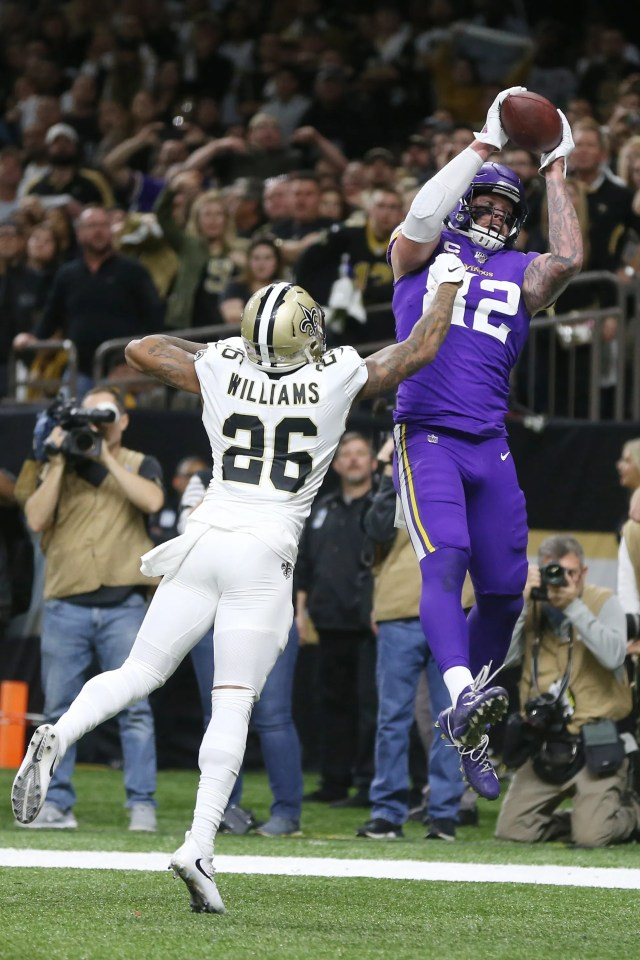 Vikings tight end Kyle Rudolph makes the game-winning catch over Saints cornerback P.J. Williams in overtime.