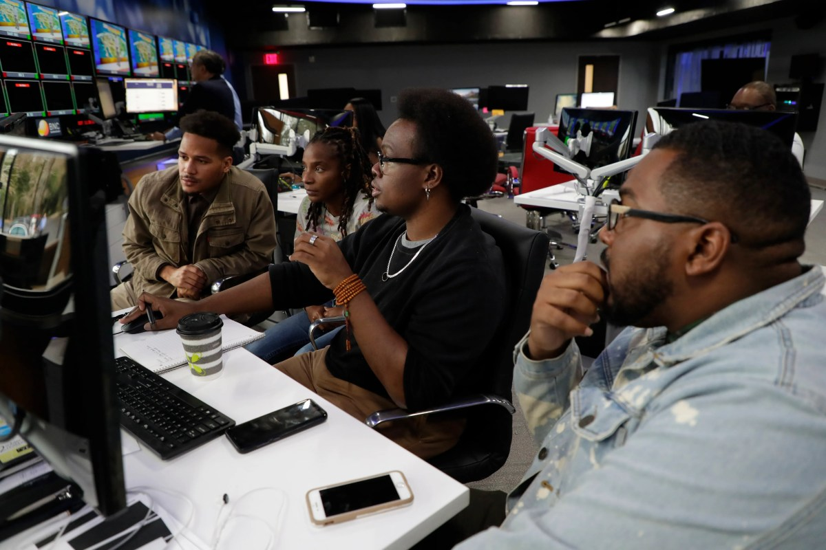 The Black News Channel digital team works together in the newsroom on Tuesday, January 7, 2020.