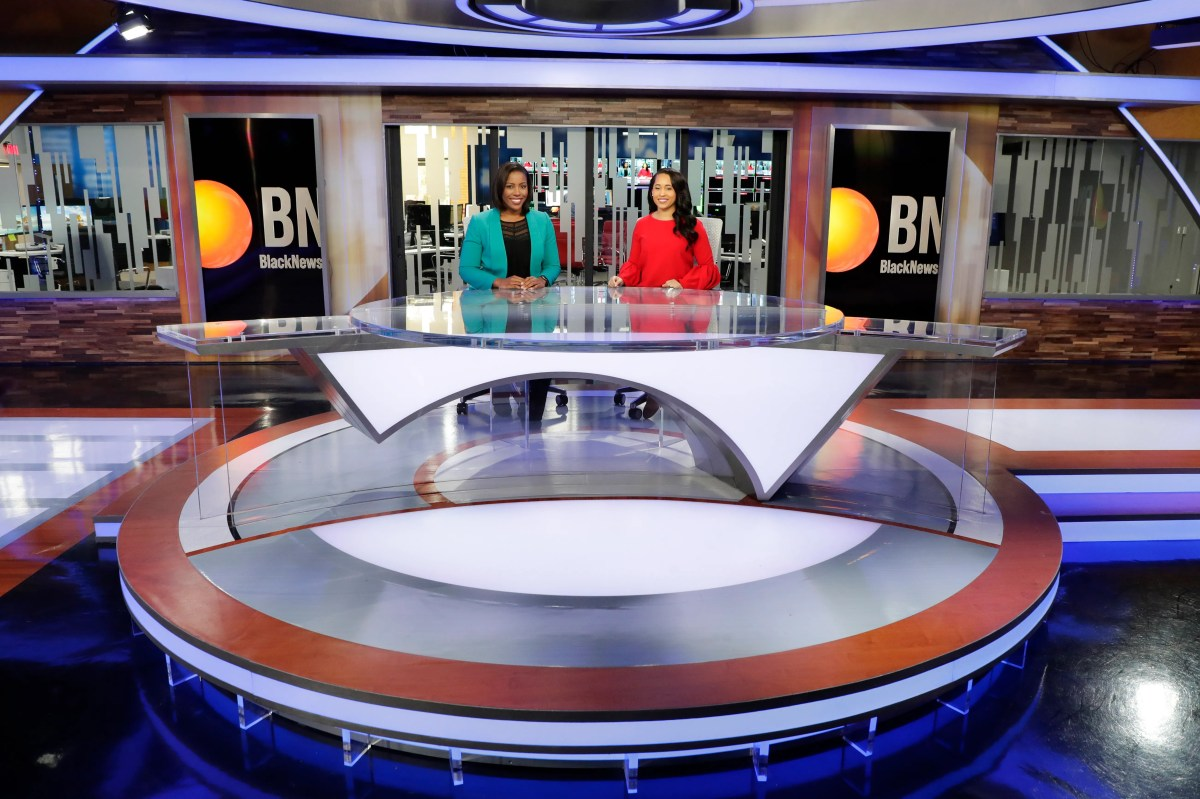 Lauren McCoy, morning co-presenter of Black News Channel, left and Rarione Maniece sat on the set on Tuesday, January 7, 2020.