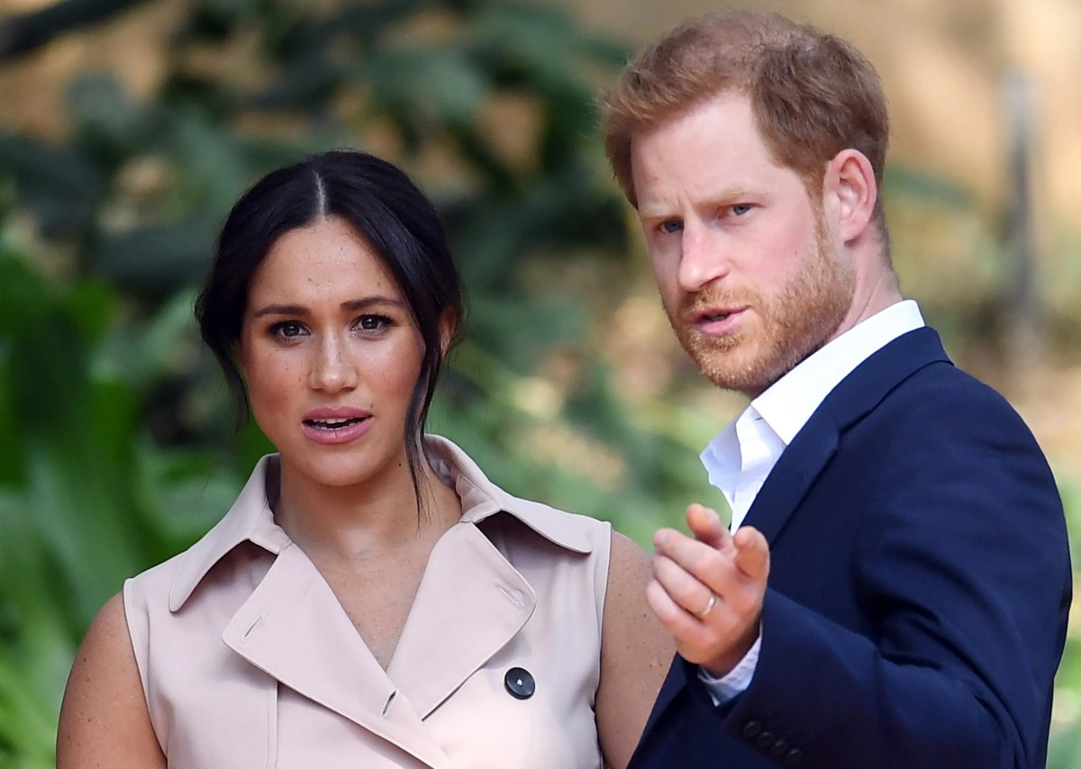 Duchess Meghan of Sussex and Prince Harry at a reception in Johannesburg, South Africa, on October 2, 2019.