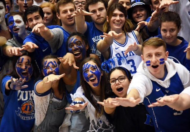 Jan. 11: Duke Blue Devils fans cheer prior to a game against the Wake Forest Demon Deacons at Cameron Indoor Stadium.