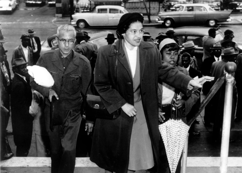 Rosa Parks arrives at circuit court to be arraigned in the racial bus boycott, Feb. 24, 1956, in Montgomery, Alabama. The boycott started Dec. 5, 1955, when Parks was fined for refusing to move to the Black section of a city bus.