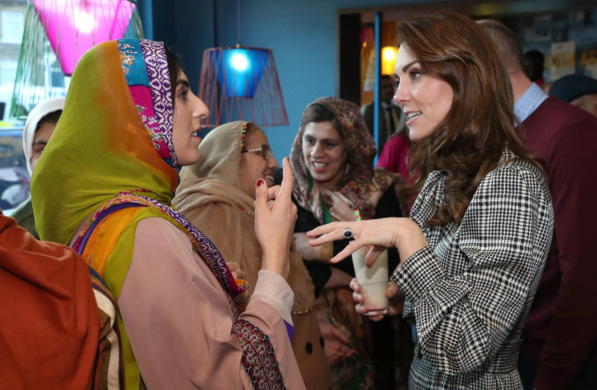 Duchess Kate meets with representatives of the Muslim Women's Council of the United Kingdom on January 15, 2020.