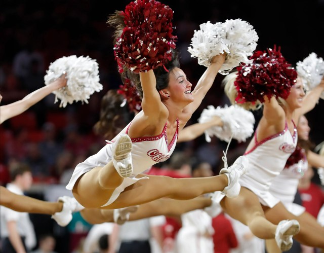 Jan. 14: The Oklahoma Sooners' dance team performs during a timeout during the game against Kansas at Lloyd Noble Center.