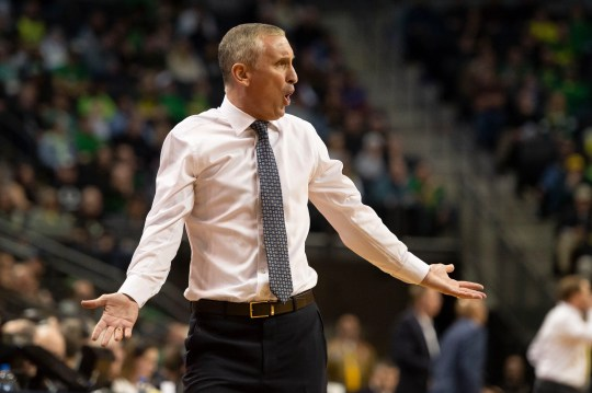 Arizona State Sun Devils head coach Bobby Hurley questions a call during the first half against the Oregon Ducks at Matthew Knight Arena.