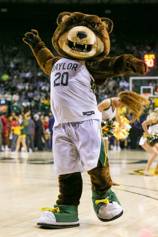 Jan. 15: The Baylor mascot fires up the crowd during a timeout in  the second half in the game against Iowa State at Ferrell Center.