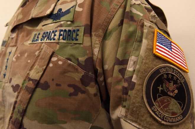 An undated handout photo made available by the United States Space Force (USSF) shows a nametape and camouflage utility uniform pattern for the new US Space Force.