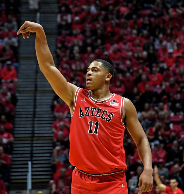 Jan 18, 2020; San Diego, California, USA; San Diego State Aztecs forward Matt Mitchell (11) reacts against the Nevada Wolf Pack during the first half at Viejas Arena. Mandatory Credit: Kirby Lee-USA TODAY Sports