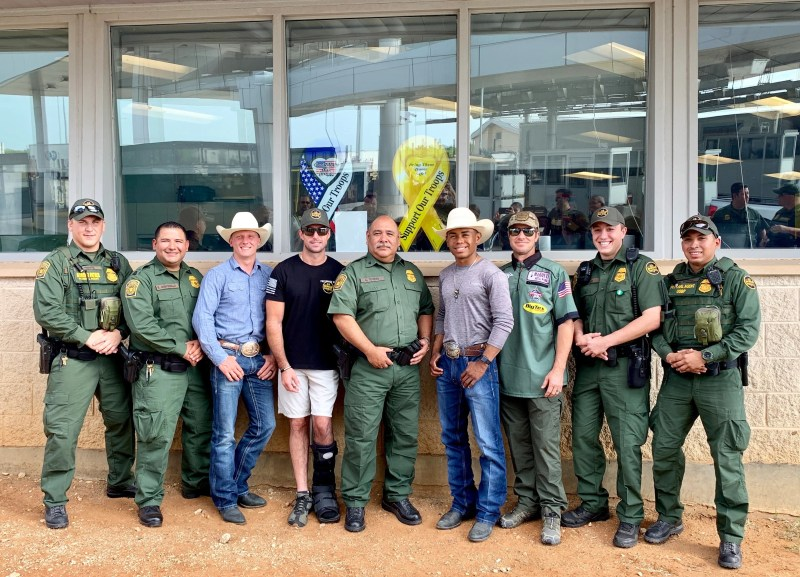 Members of the U.S. Border Patrol (in uniform) along with PBR personalities (left to right) Cooper Davis, Sean Willingham, Keyshawn Whitehorse and Shorty Gorham at last year's ride-along.