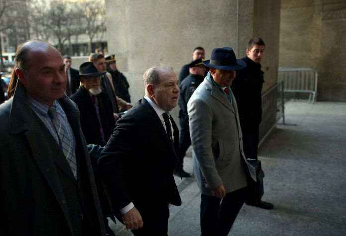 Harvey Weinstein arrives at the Manhattan courthouse on Jan. 22, 2020, for opening arguments in his sex-crimes trial.