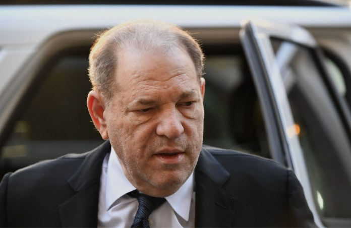 Harvey Weinstein arrives for opening arguments in his sex-crimes trial at the Manhattan courthouse on Jan. 22, 2020 in New York City.