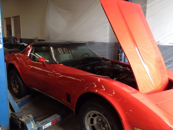 "This 1980 Corvette will be given away as one of the ""Lost Corvettes"" in a promotion by the Corvette Heroes to benefit the National Guard Educational Foundation."
