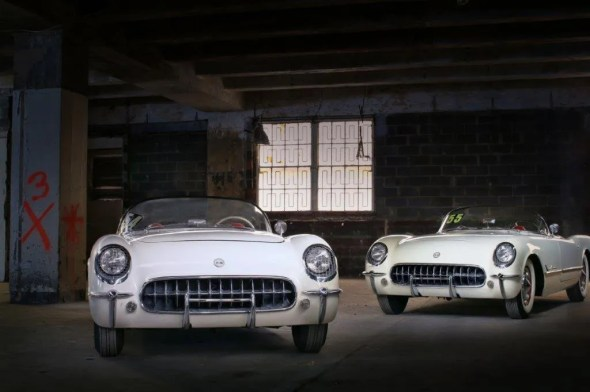"These 1954 (left) and 1955 Corvettes will be given away as one of the ""Lost Corvettes"" in a promotion by the Corvette Heroes to benefit the National Guard Educational Foundation."