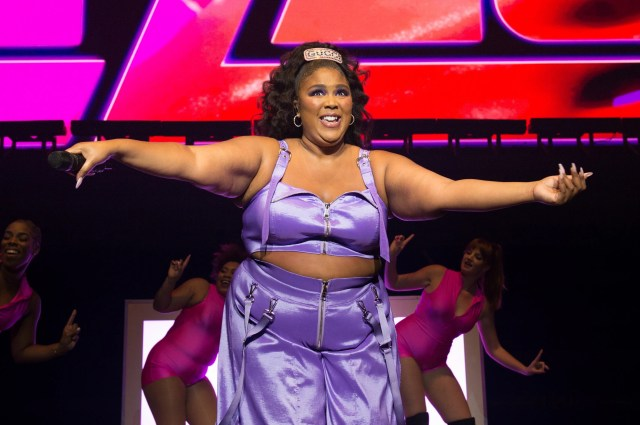 Recording artist Lizzo performs at the Pepsi Zero Sugar Super Bowl Party.