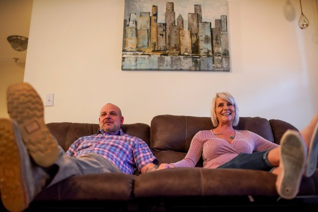 Bret and Susan Fenske go on weekly dates, but they like to stay at home and watch films side by side.