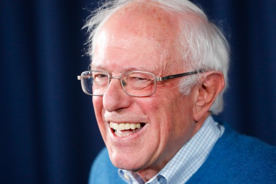 Democratic presidential candidate Sen. Bernie Sanders, I-Vt., smiles while speaking during a news conference at his New Hampshire headquarters, Thursday, Feb. 6, 2020 in Manchester, N.H. (AP Photo/Pablo Martinez Monsivais)