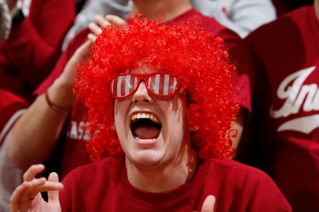 Feb. 8: An Indiana Hoosiers fan cheers during the game against the Purdue Boilermakers.