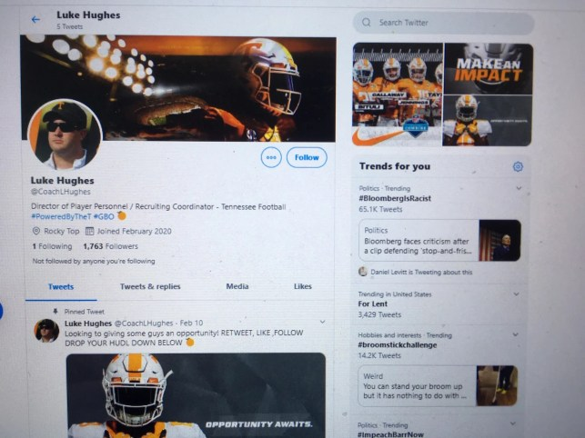 Hoax Twitter account claiming to be Tennessee assistant coach seeks money from prospects