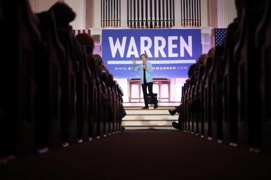 PORTSMOUTH, NEW HAMPSHIRE - FEBRUARY 10:  Democratic presidential candidate Sen. Elizabeth Warren (D-MA) hosts a town hall at South Church on February 10, 2020 in Portsmouth, New Hampshire.