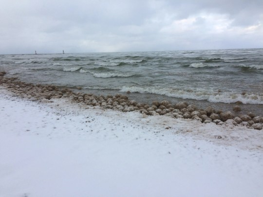 Ice balls, a rare phenomenon on Lake Michigan, rolled up on the beaches Friday at Holland State Park.