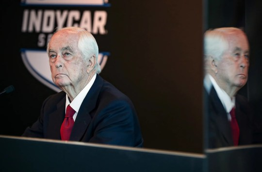 Roger Penske, owner of Indianapolis Motor Speedway, listens during a press conference with Mark Miles and Doug Boles on the track on Friday February 14, 2020. 100 days before the 104th edition of the Indianapolis 500, Penske announced the The Indianapolis 500's total bag will increase by $ 2 million to reach $ 15 million, the highest in the history of the event. The winner will be guaranteed at least $ 2 million, with additional money to win pole and fastest laps.