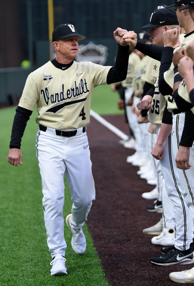 Vanderbilt head coach Tim Corbin greets his players as he is introduced before the game against South Alabama at Hawkins Field Tuesday, Feb. 18, 2020 in Nashville, Tenn.