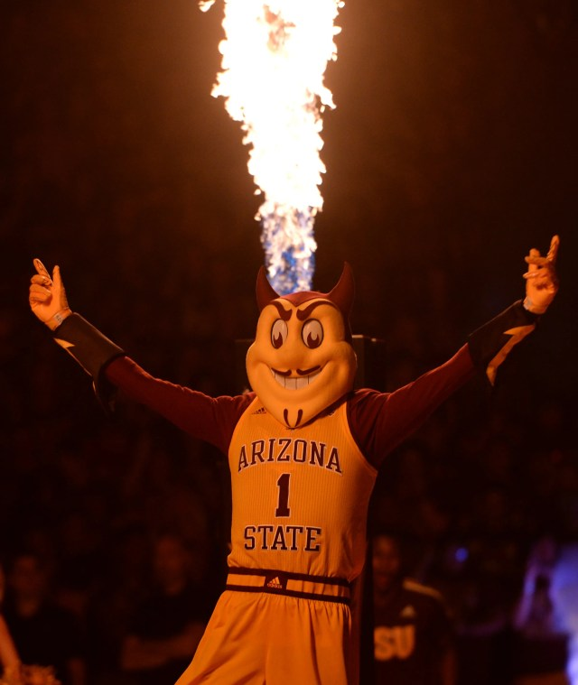 Feb. 20: Arizona State Sun Devils mascot Sparky cheers during the first half of the game against the Oregon Ducks at Desert Financial Arena.