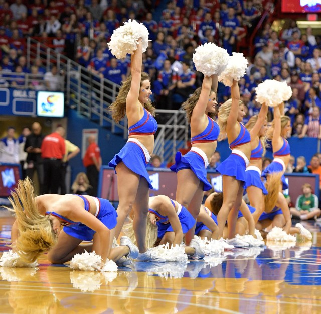 Feb. 24: Kansas Jayhawks cheerleaders perform during the second half against the Oklahoma State Cowboys at Allen Fieldhouse.