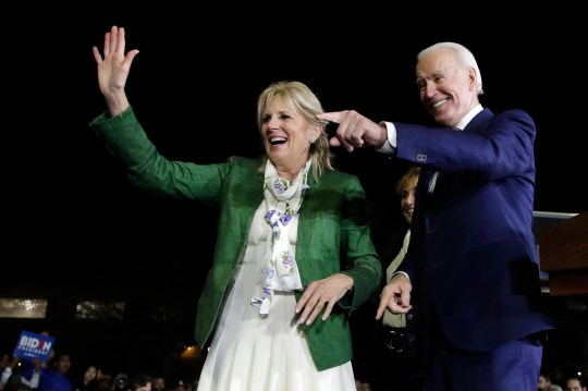 Joe and Jill Biden attend a primary election night rally March 3 in Los Angeles.