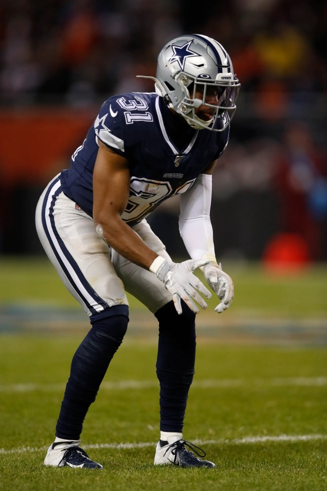Dallas Cowboys cornerback Byron Jones (31) lines up against the Chicago Bears during an NFL football game, Thursday, Dec. 5, 2019, in Chicago. The Bears won 31-24. (Jeff Haynes/AP Images for Panini)