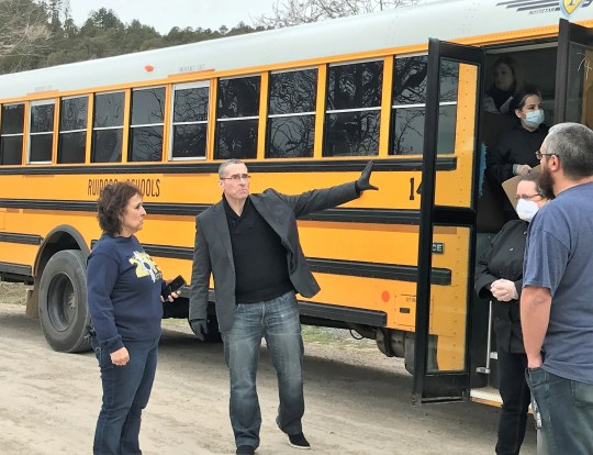 Ruidoso municipal school district superintendent George Bickert discussed with staff where student meal drop-offs were during the closures of schools in the wake of COVID-19.