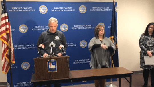 Broome County Executive Jason Garnar announced the first COVID-19 death in Broome County in a press conference Saturday afternoon.