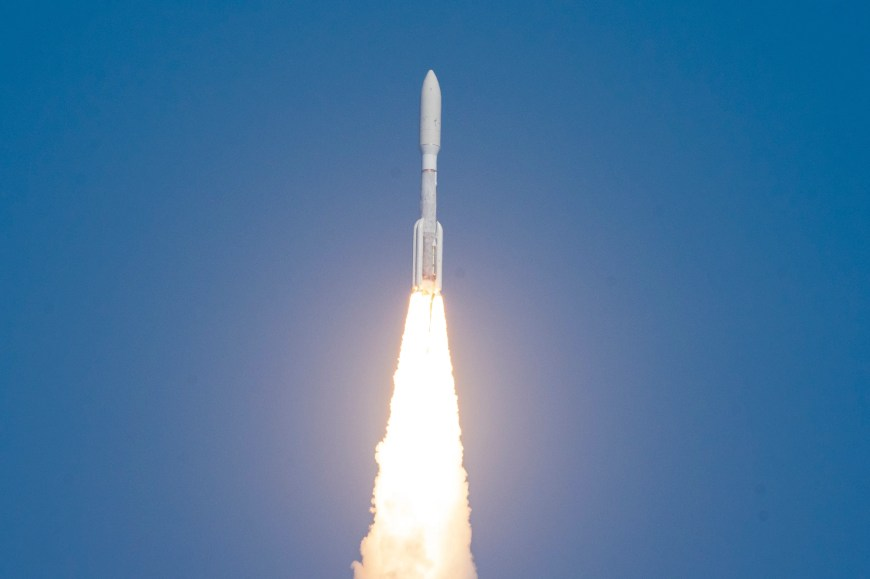 A United Launch Alliance Atlas V rocket launches from Cape Canaveral Air Force Station on the Space Force's first mission on Thursday, March 26, 2020. The rocket took a military communications satellite, AEHF-6, to orbit.