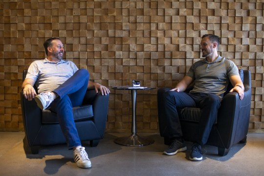 John Kobierowski (left) and Jamison Manwaring (right), the co-founders of Neighborhood Ventures, stand for a portrait at their office in Phoenix on April 9, 2020.