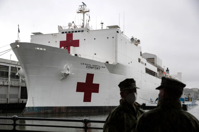 The U.S. Navy hospital ship USNS Comfort prepares to depart Manhattan's West Side to return to Naval Station Norfolk in Virginia on April 30, 2020 in New York City. The USNS Comfort, a floating hospital in the form of a Navy ship, is departing New York after the last patient aboard was discharged earlier this week. The Comfort's 1,000 beds and 12 operation rooms were deployed to ease pressure on New York hospitals amid the coronavirus pandemic.