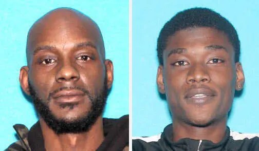(Left) Forty-four-year-old Larry Edward Teague Jr. and 23-year-old Bishop Ramonyea along with 45-year-old Sharmel Teague were charged with the murder of Calvin James Munerlyn by Genesee District Attorney David Leyton.