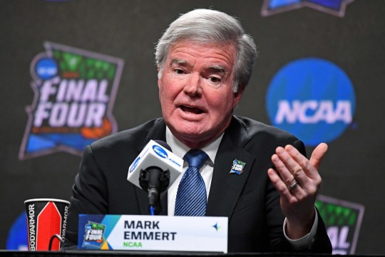 NCAA president Mark Emmert speaks during a press conference on April 4, 2019.