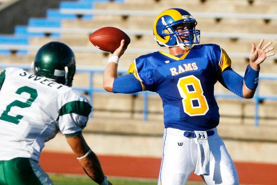Josh Neiswander from Angelo State University prepares to take a throw to East New Mexico at San Angelo Stadium on September 4, 2010.
