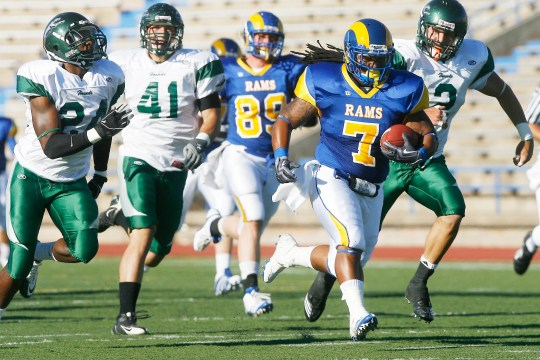 Tristan Carter from Angelo State University ran the ball on the field during the first quarter against Eastern New Mexico at San Angelo Stadium on September 4, 2010.