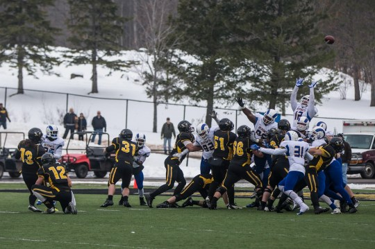 Garrett Mead of Michigan Tech lost one field goal 26 yards with three seconds left, allowing Angelo State to escape with a 42-41 victory in the first round of the NCAA Division II playoffs on November 22, 2014.