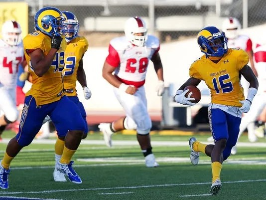 Angelo State racer Fred Lawrence returned a 93-yard kick for a touchdown against Oklahoma Panhandle State in the 2015 season opener, which was won by the Rams 52-31.