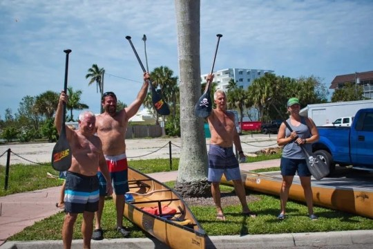 Kim Kelsey and Tyson Beebe, and Bill and A.J. Ervin competed in an unofficial Great Dock Canoe Race on Saturday, May 9, 2020. The Ervins won.