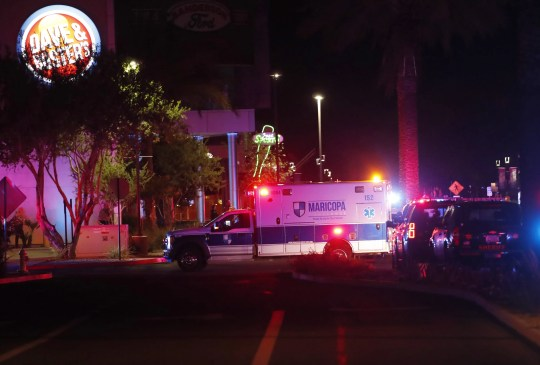 An ambulance crosses the Westgate Entertainment District in Glendale on May 20, 2020. At least three people were killed on Wednesday, according to Glendale police. Police said at least one person was in detention in connection with the shooting.